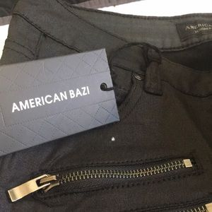 American Bazi Jeans - Black moto skinny jeans